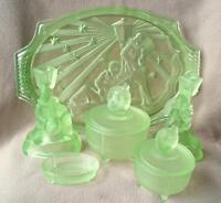 ANTIQUE ART DECO WALTHER & SOHNE URANIUM GLASS DRESSING SET PIERROT & PIERRETTE