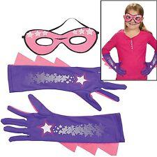 Girl's Superhero Mask & Gloves Set Costume Dress Up