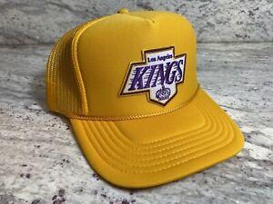 NEW LOS ÁNGELES KINGS YELLOW CAP 5 PANEL HIGH CROWN TRUCKER SNAPBACK VINTAGE