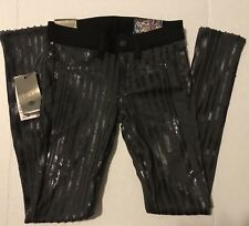 Siwy Hannah Slim Crop Pants Gray with Black Sequins Size 26