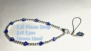 Cell Phone Strap Silver Beads Evil Eye Clasp Lanyard Nazar Keychain Protection