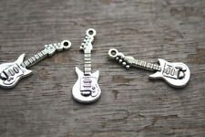 25pcs Guitar Charms Silver Tone Guitars Charm Pendants 31x11mm