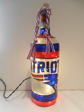 New England Patriots inspired Bottle Lamp Handpainted Lighted Stained Glass Look