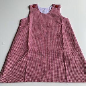Girls Red Gingham Monagramable blank Sleeveless Jumper dress size 4T