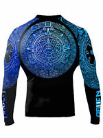 Raven Fightwear Men's Aztec Ranked Rash Guard MMA BJJ Blue