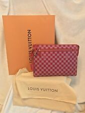 "NIB LOUIS VUITTON Damier Couleurs Kit Clutch GM Handbag, Red Burgundy, 13"" X 10"""