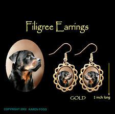 Rottweiler Dog - Gold Filigree Earrings Jewelry