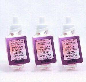3 Bath & Body Works PINK PETAL TEACAKE Wallflower Bulb Scented Oil Refill