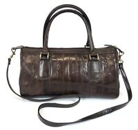 Vintage Eel Skin Brown Leather Medium Satchel Crossbody Handbag