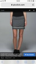 Lululemon Refresh Skirt Stretch French Terry Grey Black Womens Uk8 Us4