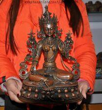 """12""""Tibet buddhism pure bronze green tara Kwan-Yin GuanYin buddha goddess statue"""