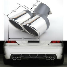1X Car Dual Pipes Exhaust Tips Tail Bent Muffler Stainless Steel Anti-corrosive