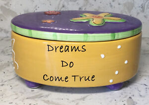 Tumbleweed Pottery Ceramic Lidded & Footed Box Oval Shape *DREAMS DO COME TRUE*
