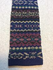 Vintage Square End Deauville Mens Tie 2.75 X 55, Purple, Blue, Green And Black