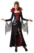 LADIES HALLOWEEN MISTRESS VAMPIRE COSTUME RED BLACK GOTHIC FANCY DRESS NEW 12