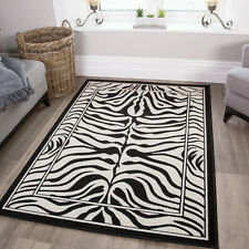 Black White Safari Fake Zebra Skin Animal Print Nature Rug Boutique Living Room