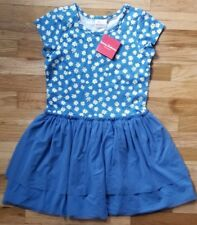 NWT Hanna Andersson BLUE DAISY FIZZIE FIZZY SUNDRESS Ruffle TEE Dress 130 7 8 9
