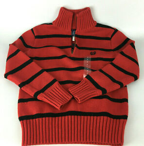 Chaps Boy's Holiday Red & Black Stripe Cotton 1/4 Zip Pullover Sweater - Size  7
