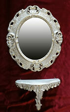 Wall Mirror + Console Oval Wall Bracket Set Baroque Antique 44x38 White Gold 1