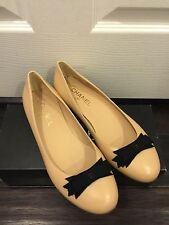 BRAND NeW CHANEL CC Classic Bow Nude Beige Leather Ballerina Ballet Flat 40 9 US