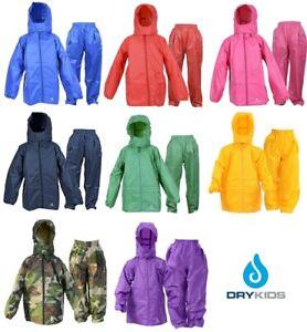 DRY KIDS Childrens Waterproof Jacket and Trouser Rain Suit Set, Coat is packable