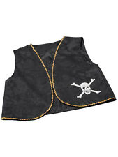 Skull & Crossbones Black Waistcoat Pirates Fancy Dress Acessory Swashbuckler New