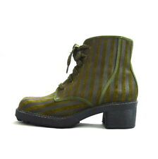 SHELLYS Striped Olive Green Leather Lace Up Ankle Boots Chunky Horse Shoe Heel 5