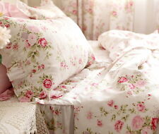 Shabby Chic Rose Floral Lace Quilt Duvet Cover Pillow Case Set White Pink Queen