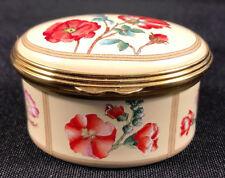 Halcyon Days Enamel Trinket Box Red Flowers After Jacques le Moynes de Morgues