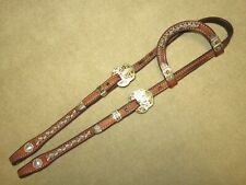 Lovely HIGH QUALITY One Ear Western Headstall with LACED RAWHIDE & FLASHY SILVER