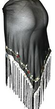 BLACK Tribal Belly Dance Dancing Burlesque Flamenco Hip Scarf Shawl Fringe Belt