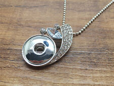 NEW White Crystal Alloy Pendant for Fit Noosa Necklace Snap Chunk Button #R183