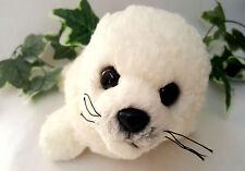 """Aurora White Baby Harp Seal Sea Lion Curly Fur Stuffed Bean Bag Plush Ocean 12"""""""