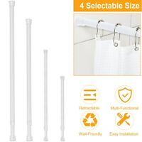 4 Sizes Tension Curtain Rod Spring Load Adjustable Curtain Pole Heavy-Duty Steel
