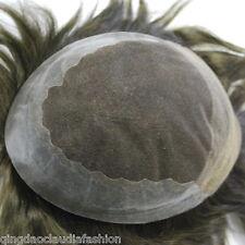dark brown mens hair piece lace front toupee 3# premium human hair system