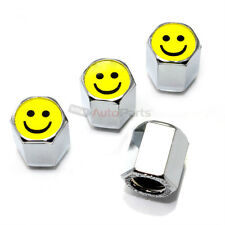 (4) Smile Happy Face Logo Chrome ABS Tire/Wheel Stem Pressure Valve CAPS Covers