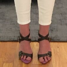 MOSCHINO DARK BROWN LEATHER SANDALS WITH ANKLE STRAP, SIZE 37