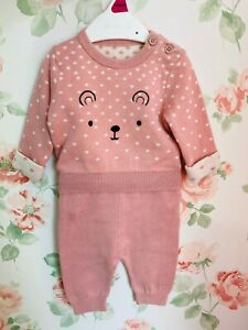 New Baby Girls Nutmeg Pink Knitted Cute Bear Dog Top Trousers Jumper Set Outfit