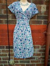 Mantaray Ladies Blue Floral Casual Jersey Tunic Dress UK 10 stretch