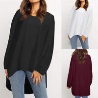 Women's Long Sleeve Shirt Tops Asymmetrical High Low Baggy Blouse Sweatshirt