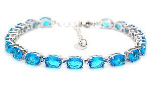 Silver London Blue Topaz 24.02ct Tennis Bracelet (925) Free Gift Box