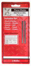 2 X 75 Mm Hss Rev Planer cuchillas para caber Holz-her 2223, 2286 & 2320 cepilladoras