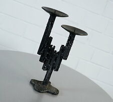Metall Kerzenständer 2 flammig Brutalist Style Ahlström /& Ehrich Ära 60er Jahre