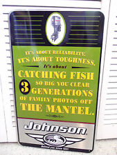 Vintage Johnson Sign Outboard Motors Boat Advertising Fishing Story Funny