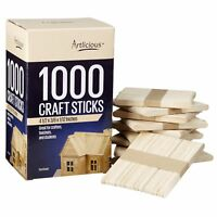 Artlicious - 1000 Natural Wooden Food Grade Popsicle Craft Sticks