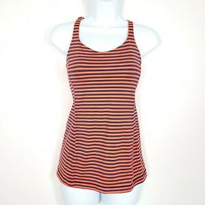 Lululemon Free To Be Tank Top 4 Orange Striped Strappy Back Luxtreme Yoga Womens