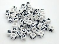 "250 White with Black Acrylic Alphabet Letter ""A-Z"" Acrylic Cube Pony Beads 6X6mm"