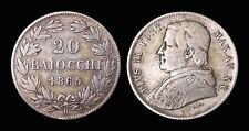 Vatican PIE IX 20 Baiocchi 1865R (Rome) An XX - Argent 5.20 gr