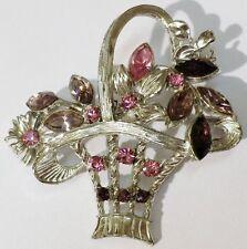 broche bijou vintage couleur argent rodier panier relief cristaux rose * 5102