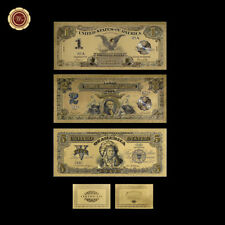 WR 1899 Series 3PCS $ 1 $ 2 $ 5 Indian Chief US Gold Juego de billetes de banco